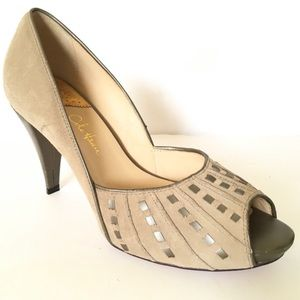 Cole Haan beige suede peep toe Nike Air heels